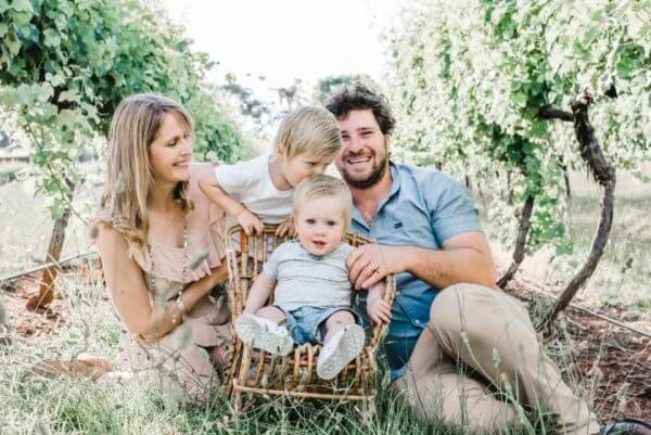 Tom, Helle, Jack and Charlie at Johansen Wines